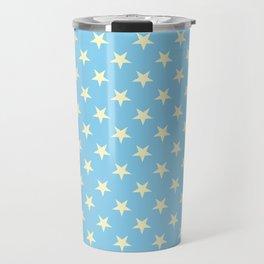Cream Yellow on Baby Blue Stars Travel Mug