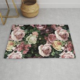 Vintage & Shabby chic - dark retro floral roses pattern Rug