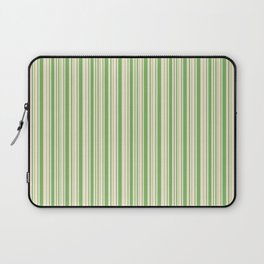 Bud Green and Antique White Stripes Laptop Sleeve