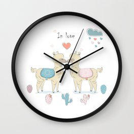 Llamas In Love Wall Clock