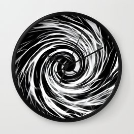 Future Abstract Spiral -Black and White- Wall Clock