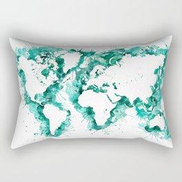Watercolor splatters world map in teal Rectangular Pillow