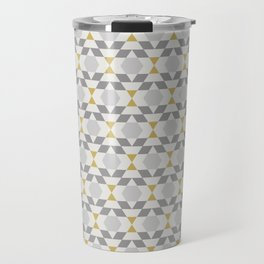 Contemporary Geometric Yellow and Grey Retro Pattern Travel Mug