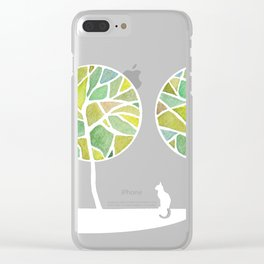 Bird and the cat, tree green Clear iPhone Case