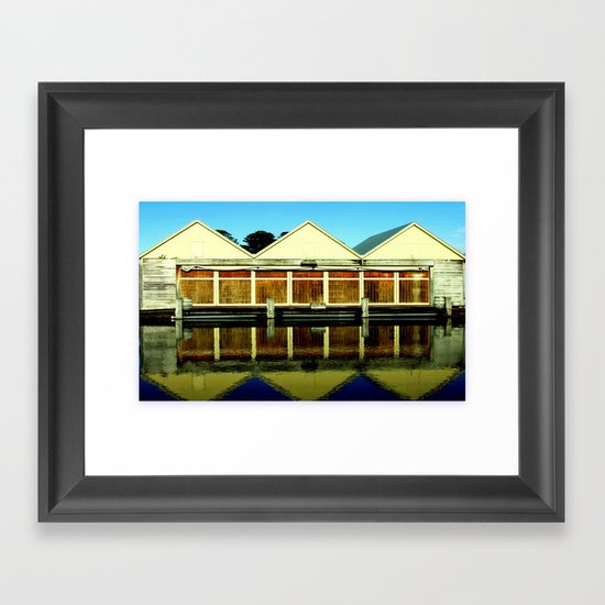 Reflections of an old boat Building! Framed Art Print