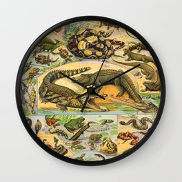 Reptiles Chart Nature Vintage Snake Turtle Alligator Wall Clock