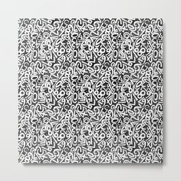 Numbers pattern in black and white Metal Print