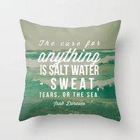 the cure Throw Pillows featuring Salt Water Cure by Olivia Joy StClaire