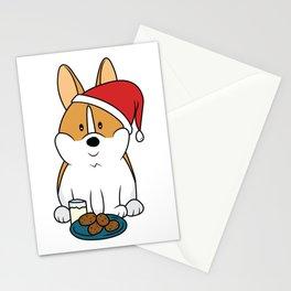 Corgi Santa Milk and Cookies Stationery Cards