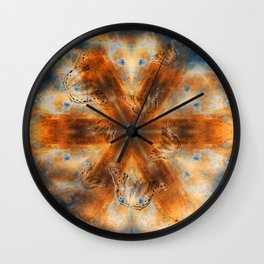 Surreal butterflies on corrugated iron mandala Wall Clock