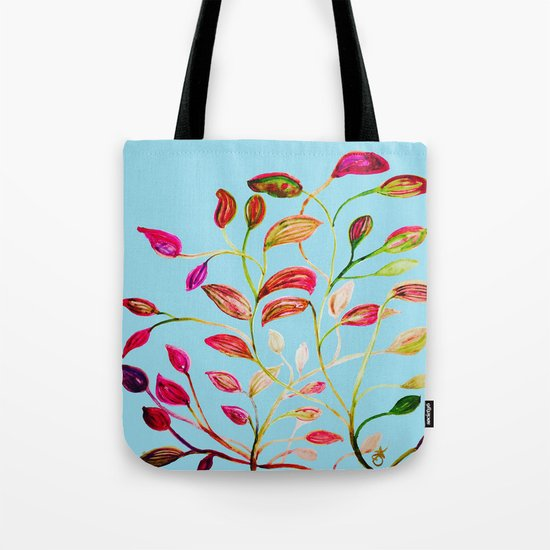 Red and Green Leaves on Light Blue Tote Bag
