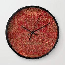 Bohemian Medallion II // 15th Century Old Distressed Red Green Colorful Ornate Accent Rug Pattern Wall Clock