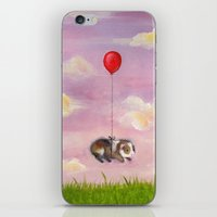 guinea pig iPhone & iPod Skins featuring Balloon Ride - Guinea Pig With Balloon by When Guinea Pigs Fly