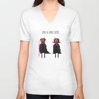 sith V-neck T-shirts featuring Mr & Mrs Sith by Simon Alenius