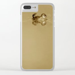 Swimming frog sepia Clear iPhone Case