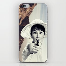 Audrey Hepburn / Mountain iPhone Skin