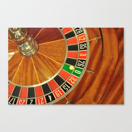 casino roulette wheel with the ball on number zero Canvas Print