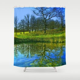 Springtime at the Pond Shower Curtain