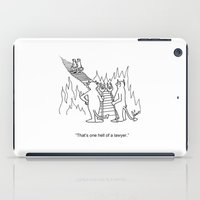 """lawyer iPad Cases featuring """"One Hell Of A Lawyer"""" by Bill Abbott Business Cartoons"""