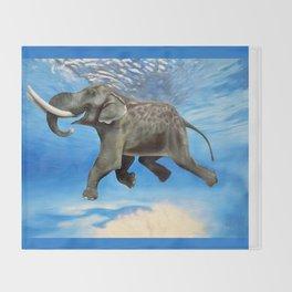 Rajan The Swimming Elephant Throw Blanket