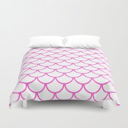 Pink Fish Scales Pattern Duvet Cover