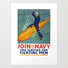 Vintage Navy Poster, 1917 Art Print