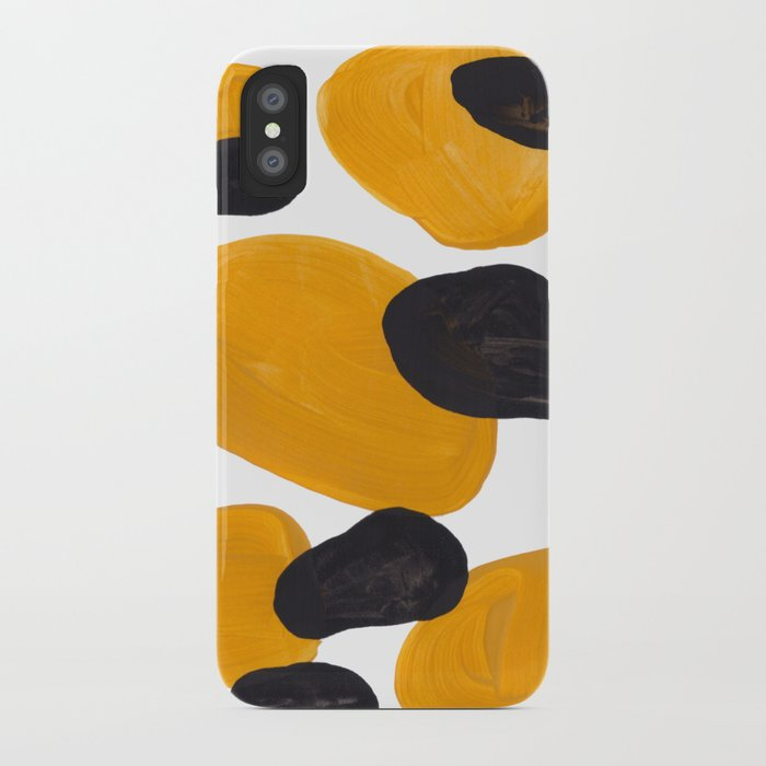 sports shoes addad 3ccc2 Mid Century Abstract Black & Yellow Fun Pattern Floating Mustard Bubbles  Cheetah Print iPhone Case