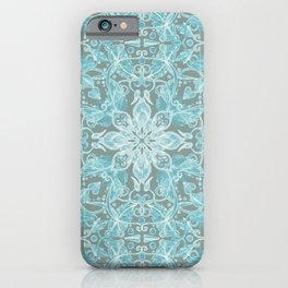 Soft Teal Blue & Grey hand drawn floral pattern iPhone Case