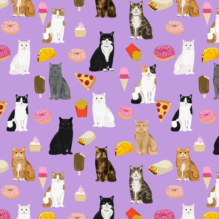 Cat breeds junk food pizza french fries food with cats gifts ice cream donuts Comforters