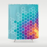 honeycomb Shower Curtains featuring Honeycomb by AleyshaKate