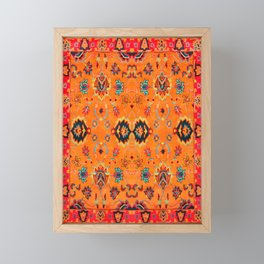 Orange Bohemian Oriental Traditional Moroccan Artwork Framed Mini Art Print