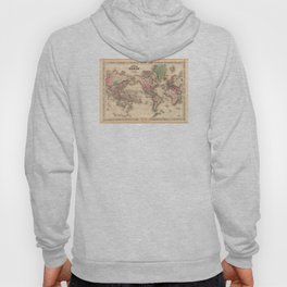 1861 World Map - Johnson's World on Mercators Projection Hoody