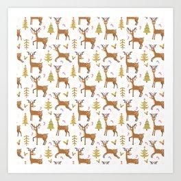 Pastel green brown cute Christmas deer festive pattern Art Print