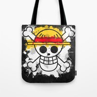 luffy Tote Bags featuring Straw Hat Pirates by rKrovs