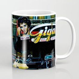 Movie theater with Elizabeth Taylor marquee Europe vintage 1956 Color Photo Coffee Mug