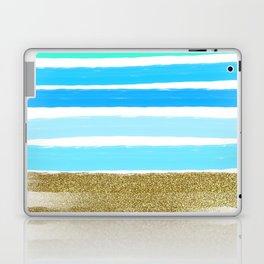 Blue Stripes and Glitter Laptop & iPad Skin