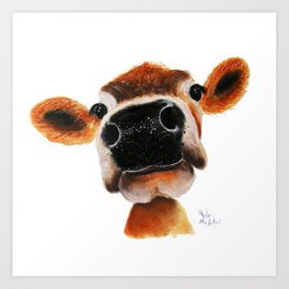 Nosey Cow ' JERSEY JOY ' by Shirley MacArthur Art Print