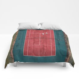 Tennis court, view of drone Comforters