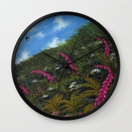 Foxglove Hedgerow Wall Clock