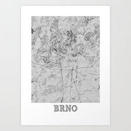 Brno Pencil City Map Art Print