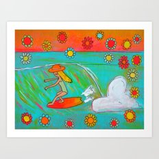 hang 5 lady slider flower power  Art Print