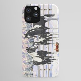 Black Pinto Horse Family Paint Horses In Snow iPhone Case