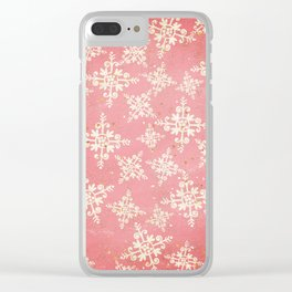Red and Gold Snowflakes 1 Clear iPhone Case
