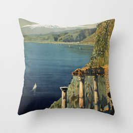 Vintage Taormina Sicily Italian travel ad Throw Pillow
