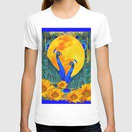 BLUE PEACOCKS MOON & FLOWERS FANTASY ART T-shirt