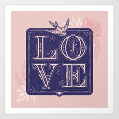 love type swallow Art Print