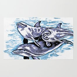 Dolphins In Blue Purple Rug