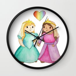 Activist Art: Live Your Best Life; Lesbian Princesses Wall Clock