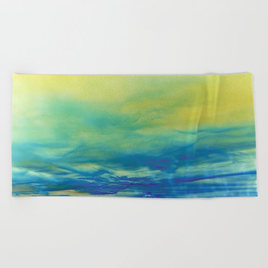 YELLOW & BLUE TOUCHING #1 #abstract #art #society6 Beach Towel