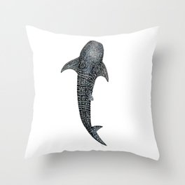 Whale shark Rhincodon typus for divers, shark lovers and fishermen Throw Pillow